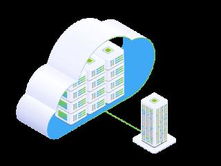 Beratung und Management zum Thema Cloud Transition, symbolisch durch große Wolke mit vielen kleinen Servern und ein allein stehender Server dargestellt.