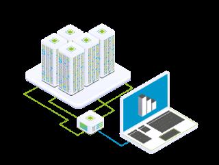 Beratung und Management zum IT-Outsourcing, beispielhaft dargestellt durch kleinen Laptop, verbunden über einen Router zu einem großen Rechenzentrum mit verschiedenen Diensten.
