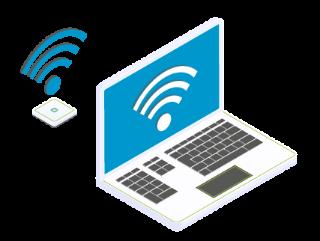 Laptop mit WLAN-Verbindung zum Access-Point