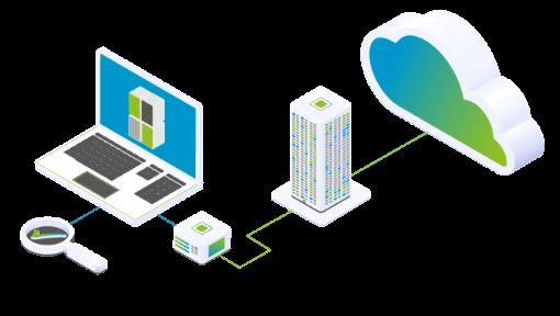 Beratung und Management für verschiedenste Services, dargestellt in einem Laptop, verbunden mit der Cloud