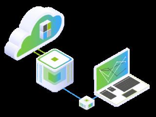 Laptop, welches die Strategie bei der Cloud-Transition aufzeigt durch ein Rechenzentrum und die Cloud mit ihren Bausteinen selbst.