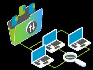 symbolisch durch einen Lupe, mehrere Geräte und einer Verzeichnis-Abbildung dargestellte Wartungsarbeiten bei einem Managed Server